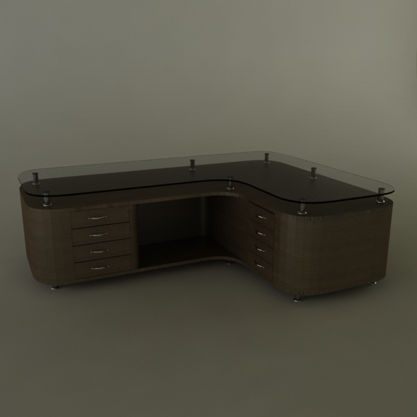 wooden office desktop - 3DOcean Item for Sale