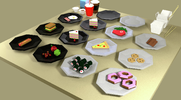 Fast-food Low Poly Pack - 3DOcean Item for Sale
