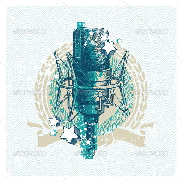 GraphicRiver Musical Emblem With Hand Drawn Microphone 1500555