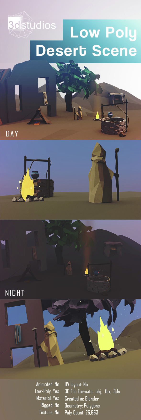 Low Poly Desert Scene - 3DOcean Item for Sale