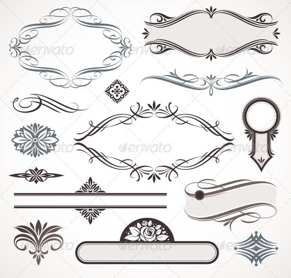 Calligraphic design elements page decor graphicriver