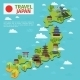 Travel Map with Traditional Japanese Landmarks
