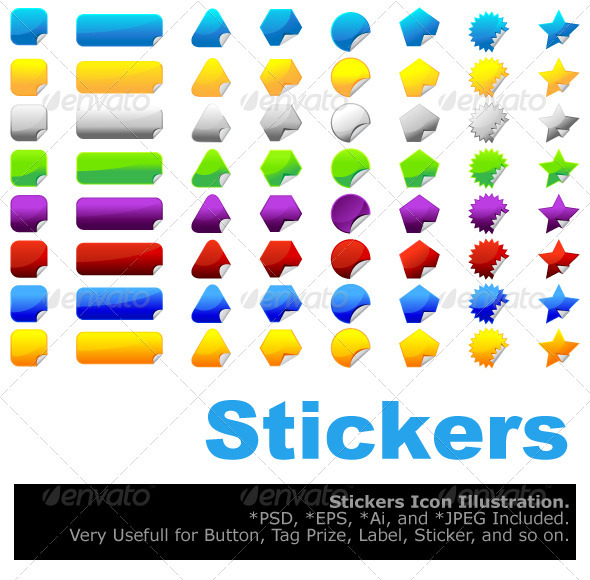 Graphic River Stickers Vectors -  Decorative  Decorative Symbols 1500812