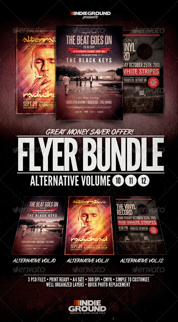 Alternative Flyer/Poster Bundle Vol. 10-12 - Clubs & Parties Events