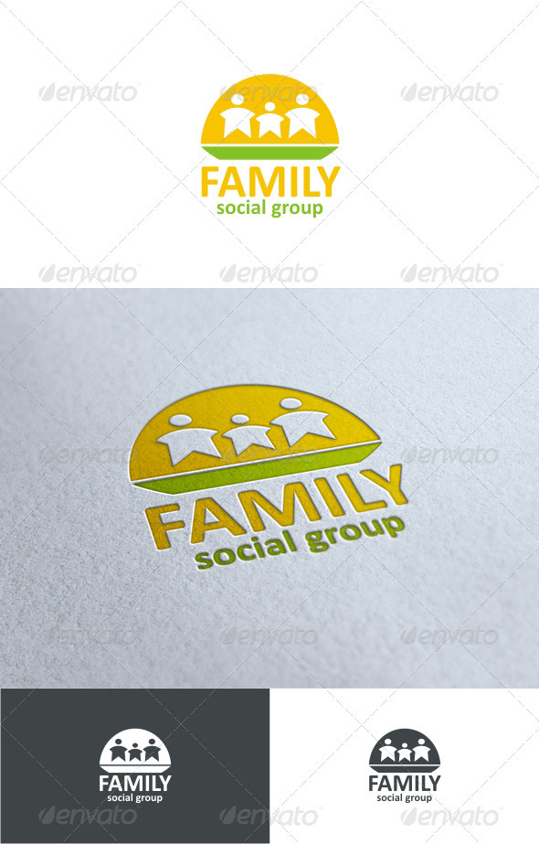 Family social group artistic illustrative element of a family
