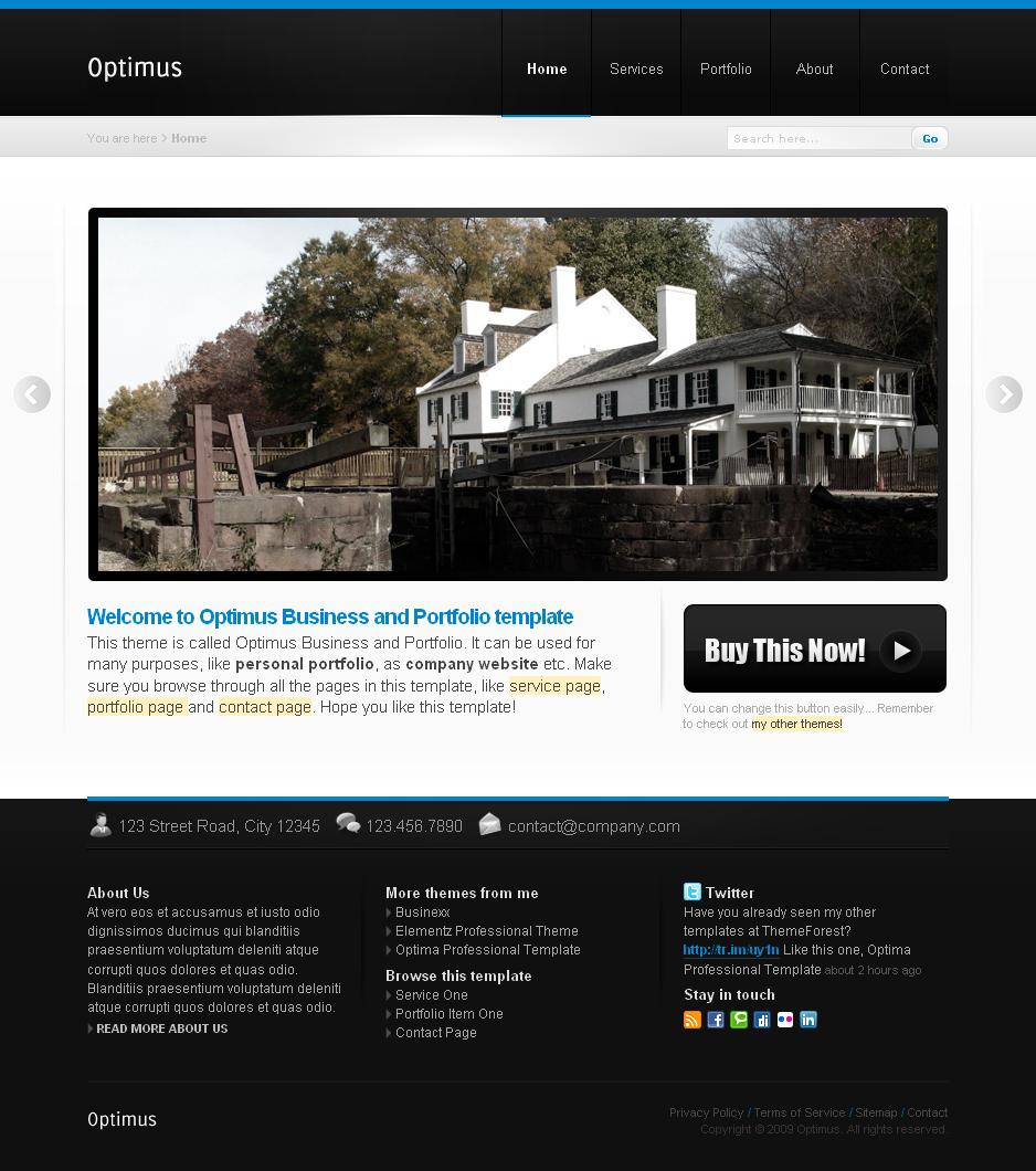 Optimus Business and Portfolio - Homepage
