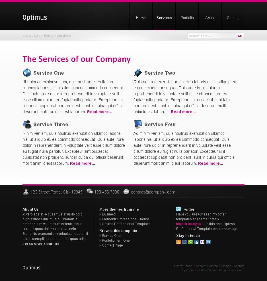 Optimus Business and Portfolio - Normal content page