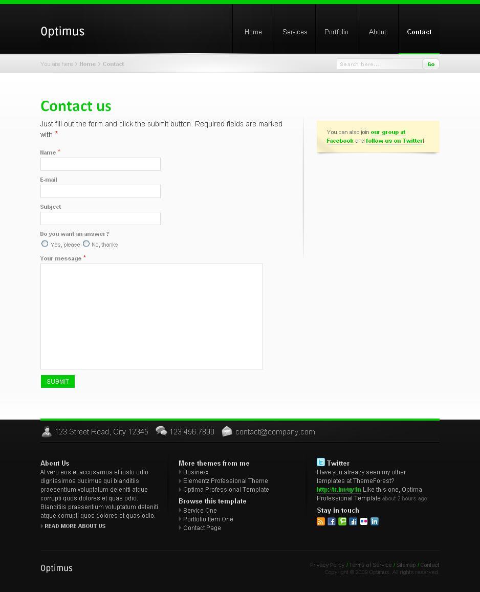Optimus Business and Portfolio - Contact Form