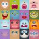 Set of Cartoon Monster Faces