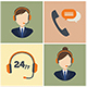 Call Center Service Flat Icon Set