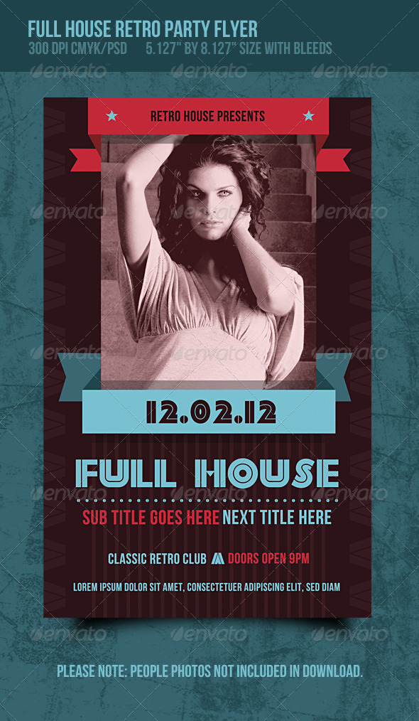 Full house retro music dance party flyer graphicriver for Retro house music
