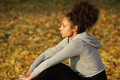 Young african american sports woman resting outdoors