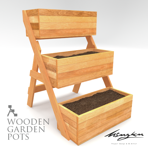 Wooden garden pots - 3DOcean Item for Sale