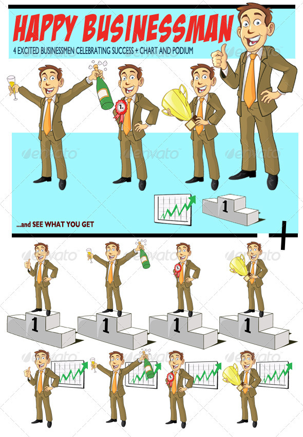 Graphic River Happy Businessman Vectors -  Characters  People 1501864