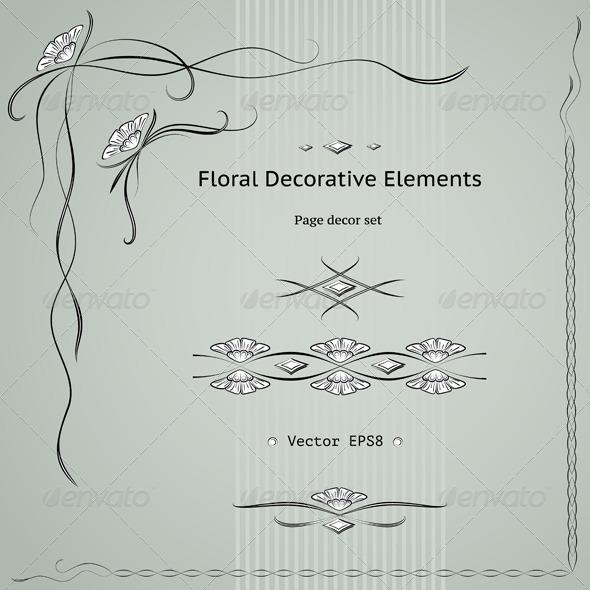 Graphic River Floral Decoration Elements Set Vectors -  Decorative 1501865
