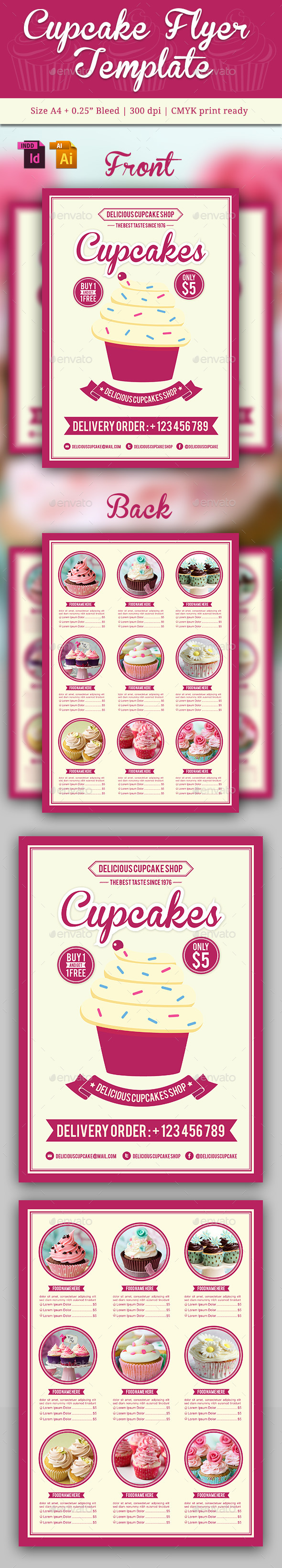 Cupcake Flyer Template Vol. 3