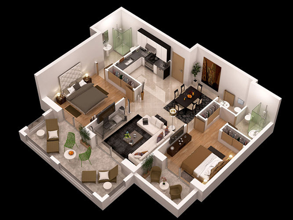 detailed 3d apartment - 3DOcean Item for Sale