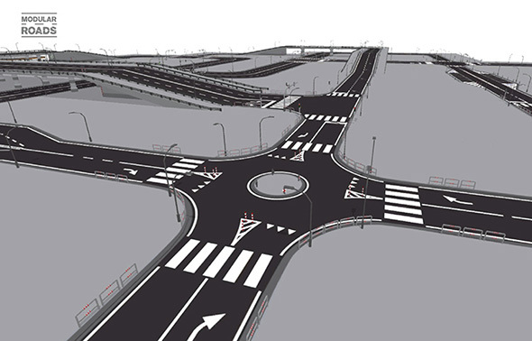Modular Roads - 3DOcean Item for Sale