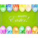 Green Easter Background with Colored Eggs