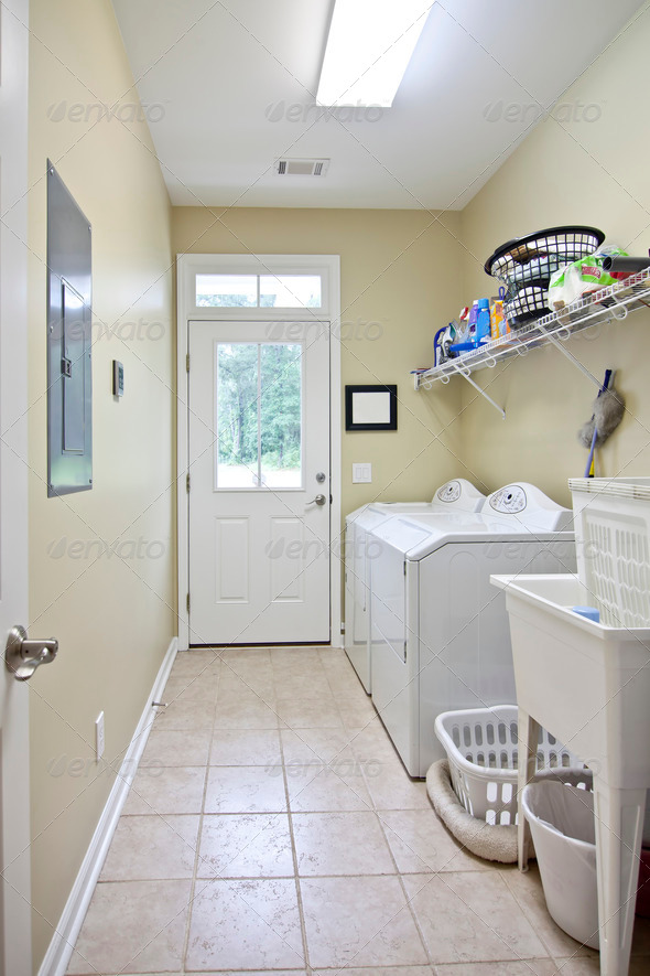 simple laundry room - Stock Photo - Images