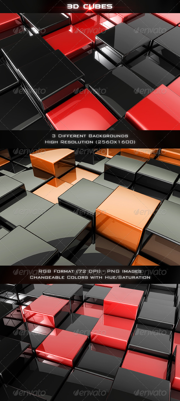 Graphic River 3D Cubes Graphics -  Backgrounds  3D 1504614