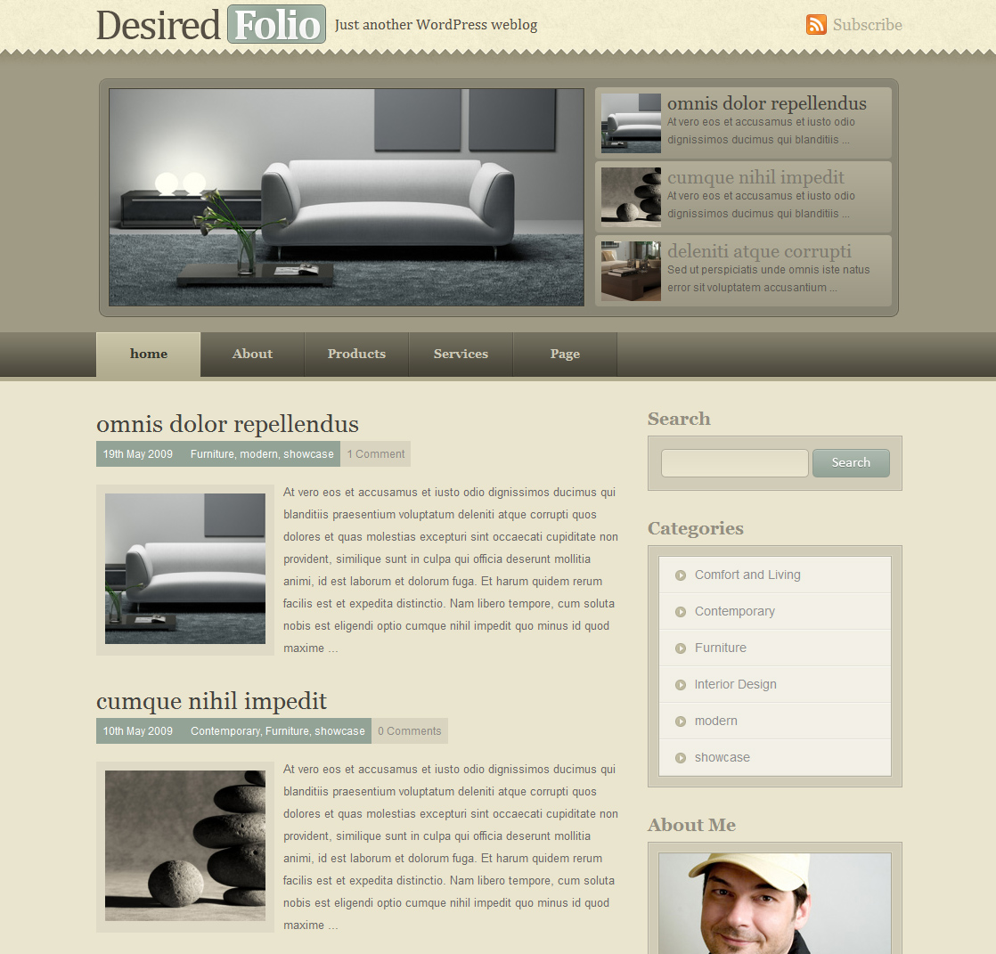 DesiredFolio - Homepage screenshot of the default color scheme(teal)