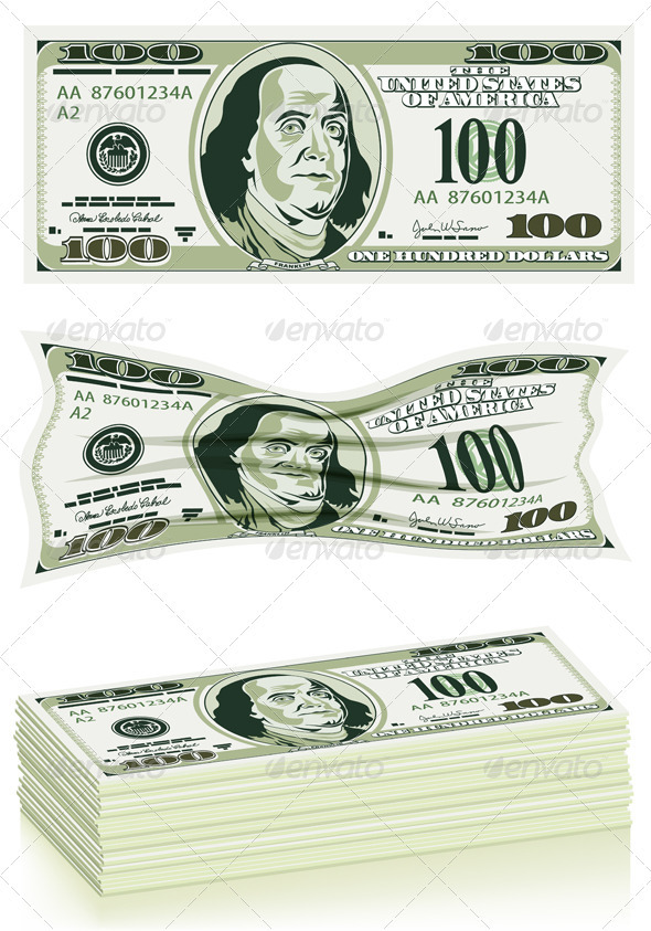 GraphicRiver Set of Dollar Bills 1504917