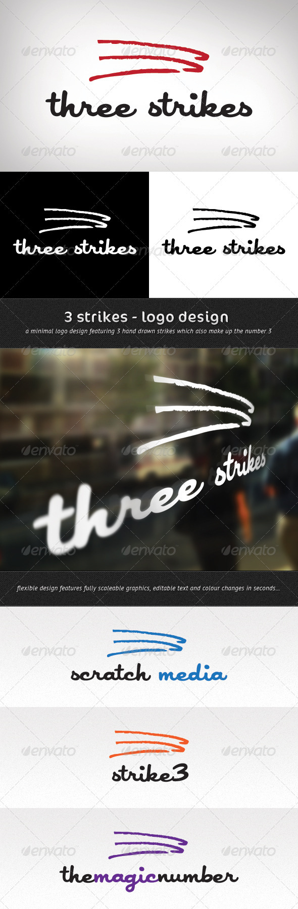 3 Strikes Logo Template - Numbers Logo Templates