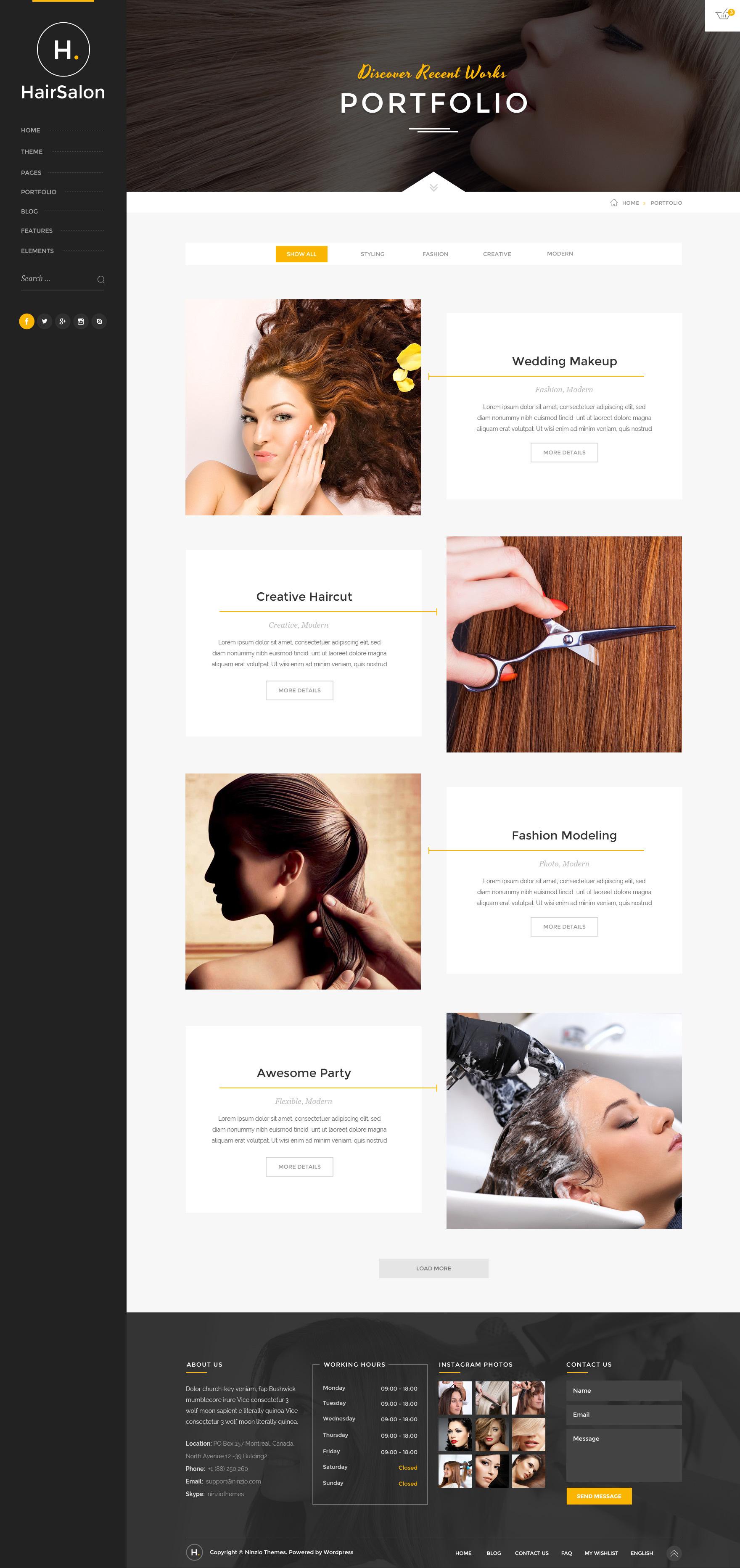 Hair salon elegant psd template by ninzio themeforest for Cosmetology portfolio template
