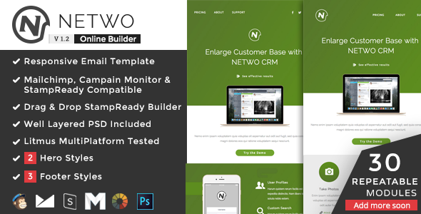 Netwo - Responsive Email + StampReady Builder