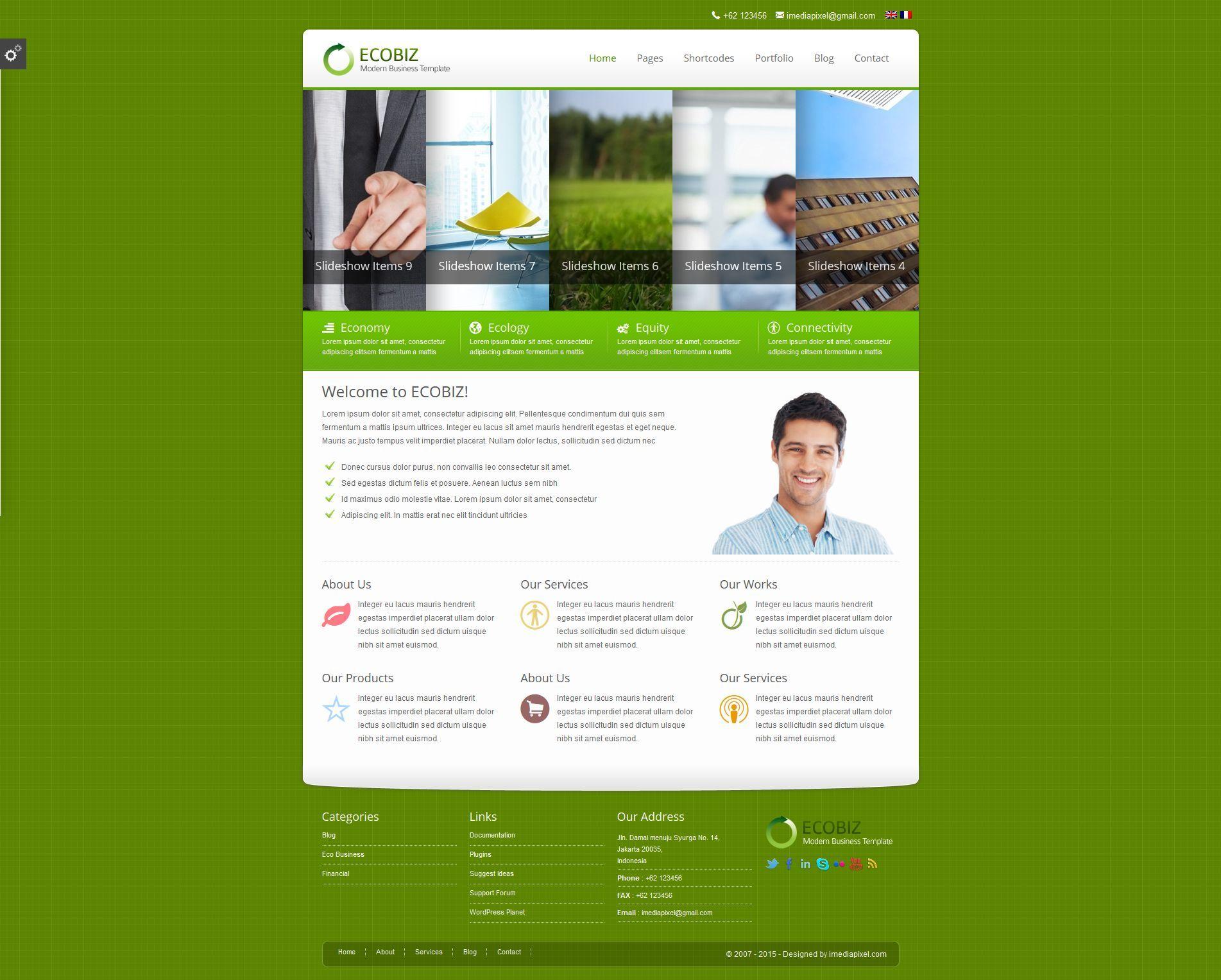 Gmail homepage theme - Ecobiz Business Wordpress Theme