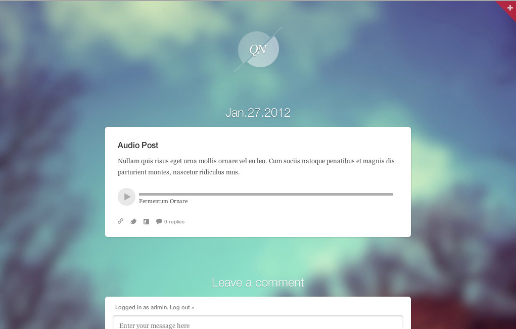 Quicknote - clean & functional blog - Quicknote audio post type