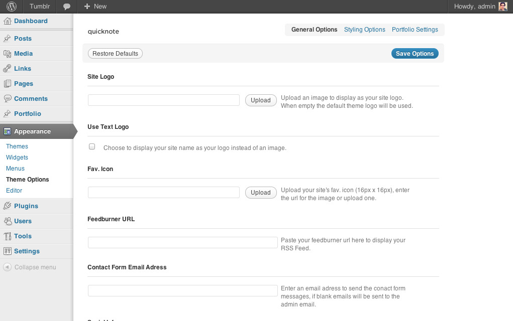 Quicknote - clean & functional blog - Quicknote theme options panel