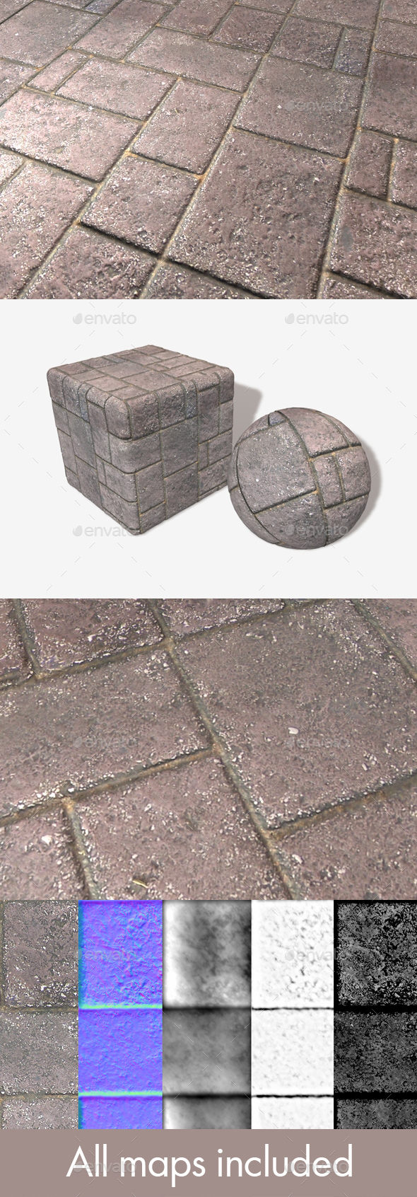 Ground Brick Pattern Seamless Texture - 3DOcean Item for Sale