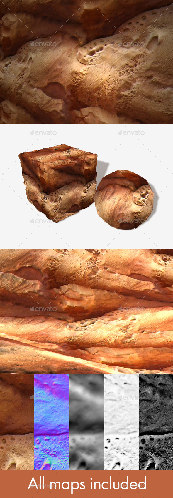 Orange Artificial Rock Seamless Texture - 3DOcean Item for Sale