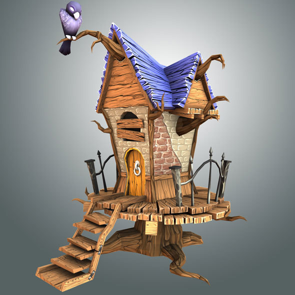 Low Poly Creepy House - 3DOcean Item for Sale