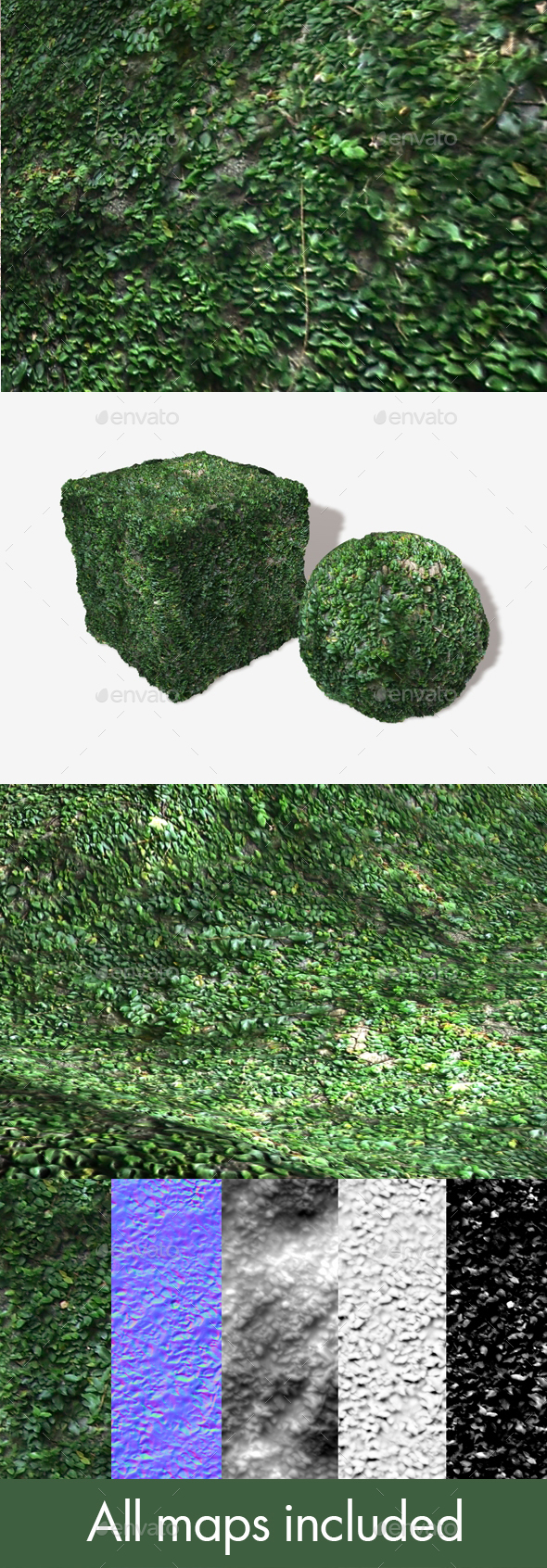 Vine Covered Rock Seamless Texture - 3DOcean Item for Sale