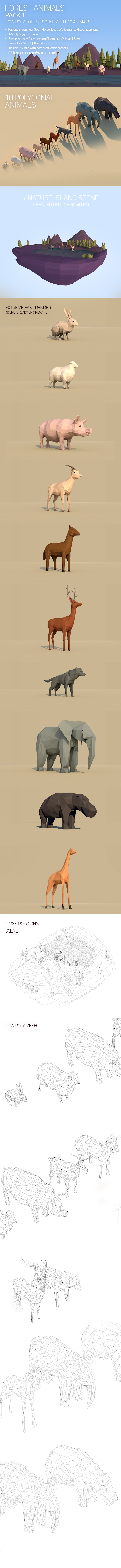 Low Poly Forest Animals Pack 1 - 3DOcean Item for Sale