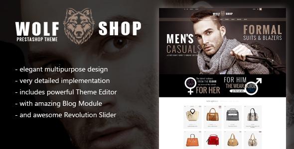 WOLF Multipurpose Responsive Prestashop Theme with Blog and Theme Editor