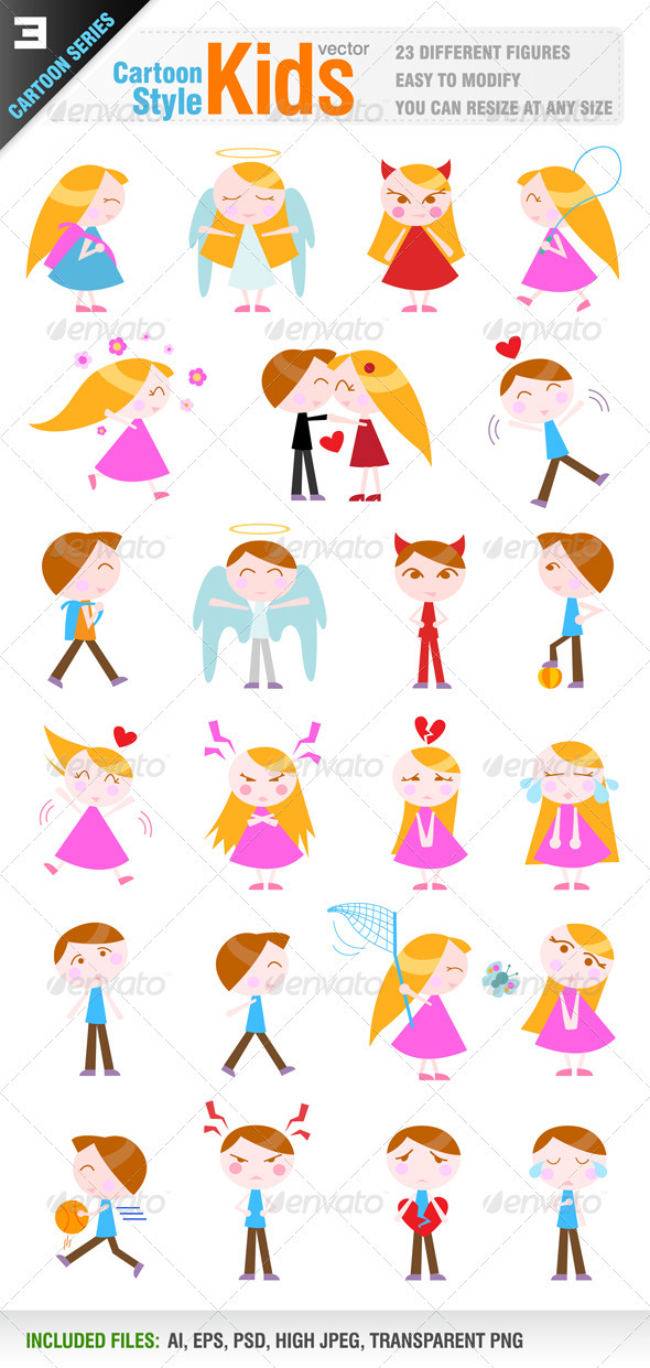 GraphicRiver 23 Cartoon Kid Characters 1506775
