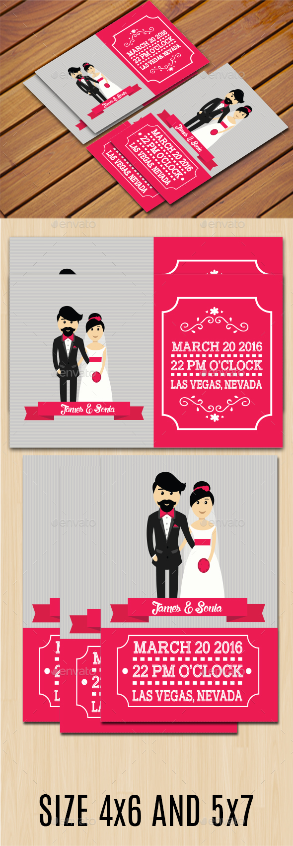 Simple Wedding Invitation II (Two Size)