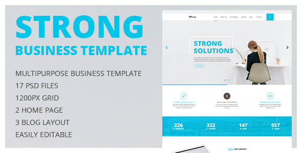 Strong — Multipurpose Business and Portfolio PSD Template with Clean Minimal Design