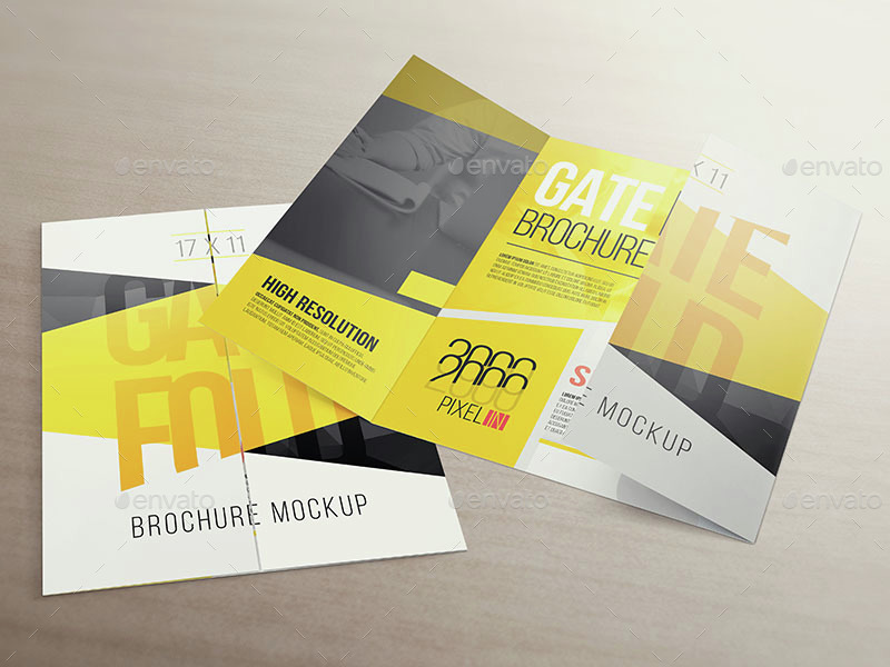 17 x 11 Gate Fold Brochure Mockup by Vectogravic | GraphicRiver