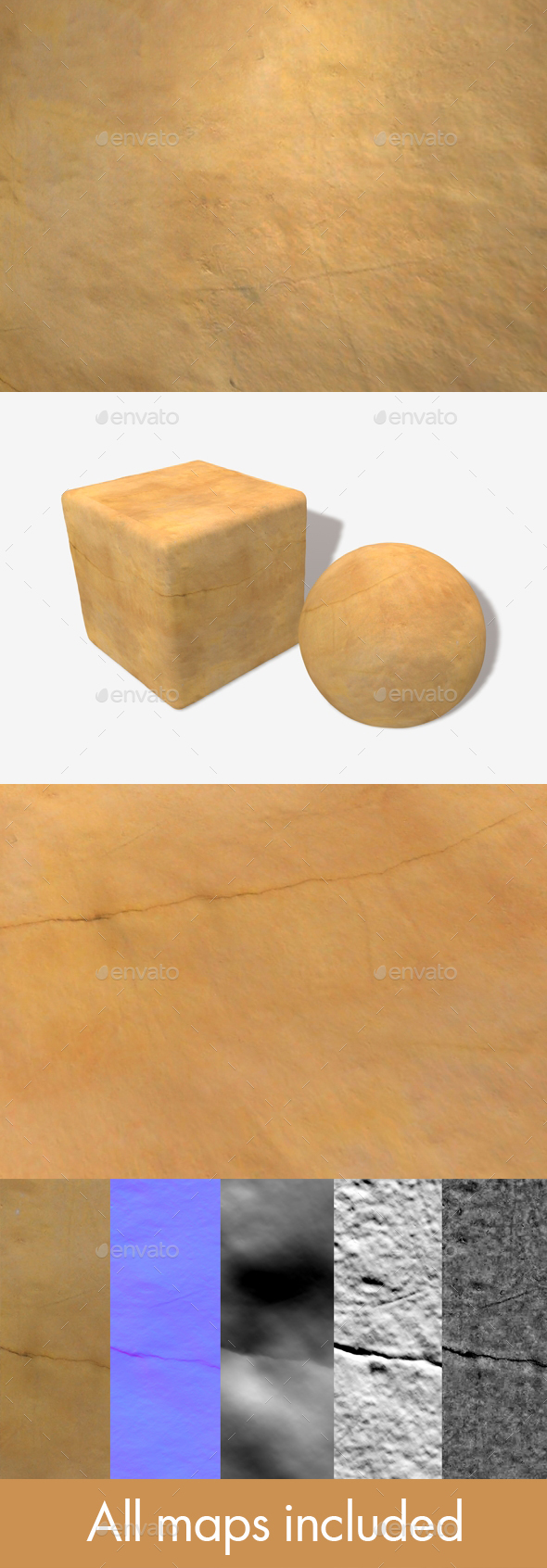 Yellow Cracked Clay Wall Seamless Texture - 3DOcean Item for Sale