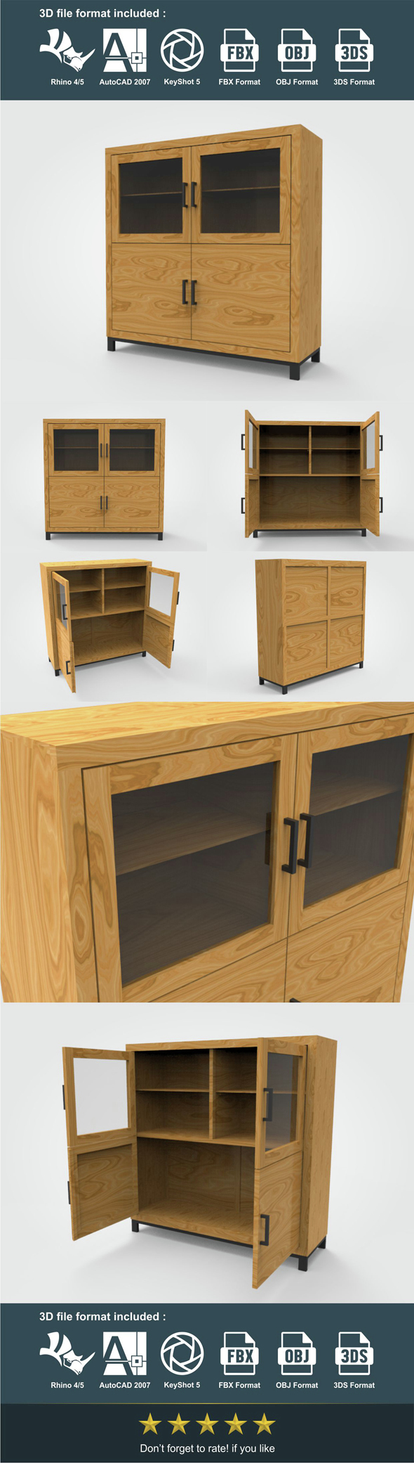 Highboard 138 x 45 x 140 cm - 3DOcean Item for Sale