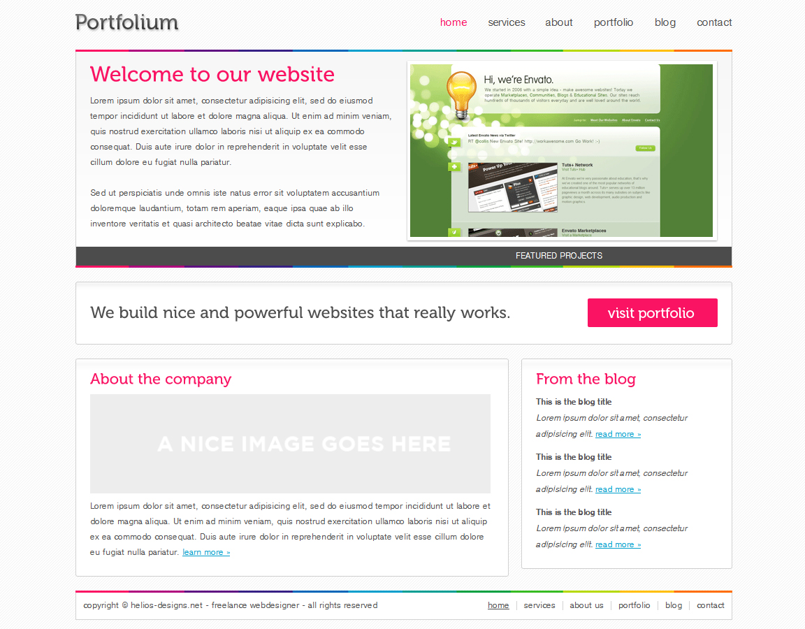 Portfolium - Full xHTML/CSS Template - This is the home page, it contains a top banner with latest project launched, 3 modules for featured projects and 2 modules for the company profile (Services and About).