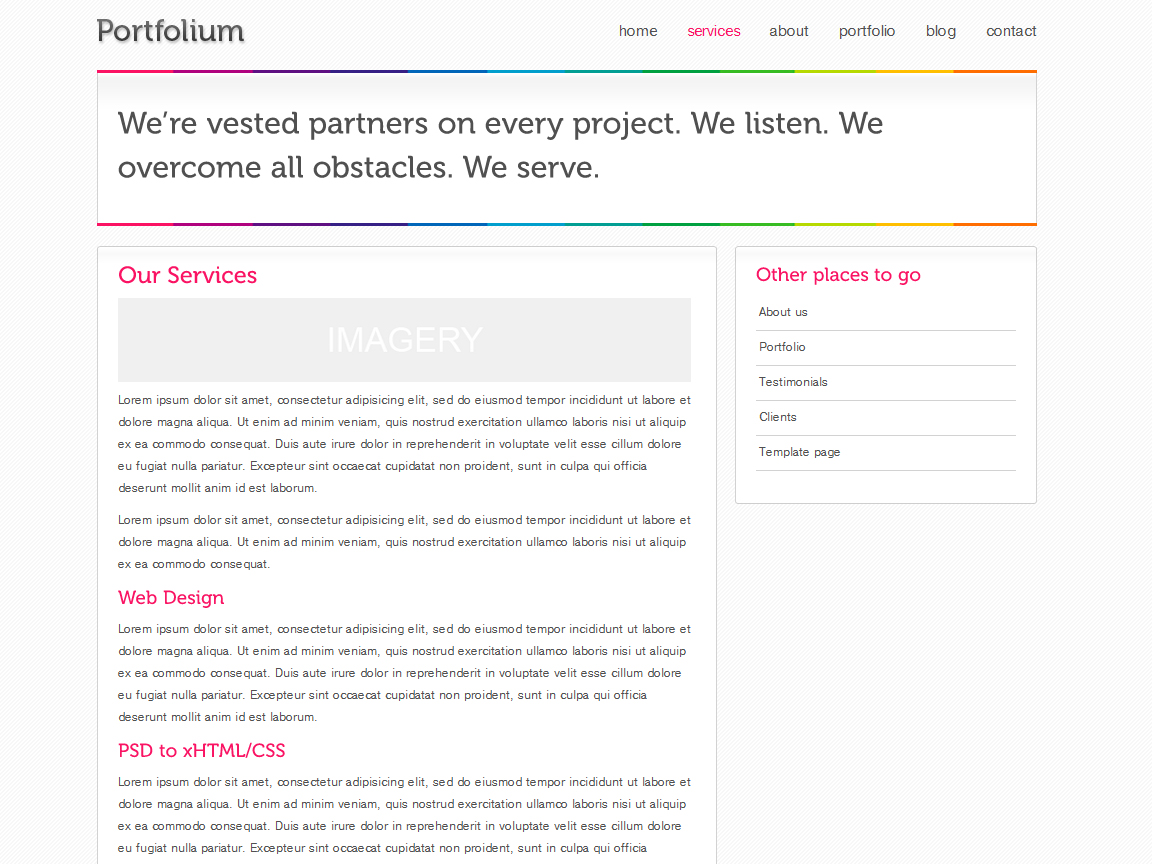 Portfolium - Full xHTML/CSS Template - This is a static page sample for content like Services or About Us.