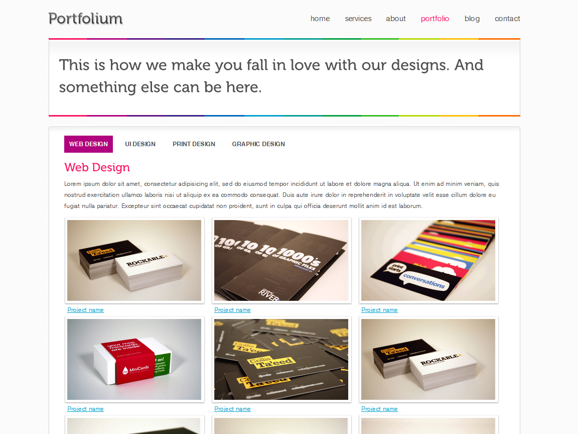 Portfolium - Full xHTML/CSS Template - This is the cool portfolio page, it uses a slider with pagination 5web desig, UI design, etc.) and Pretty photo for larger preview, it also leads to a case of study page.