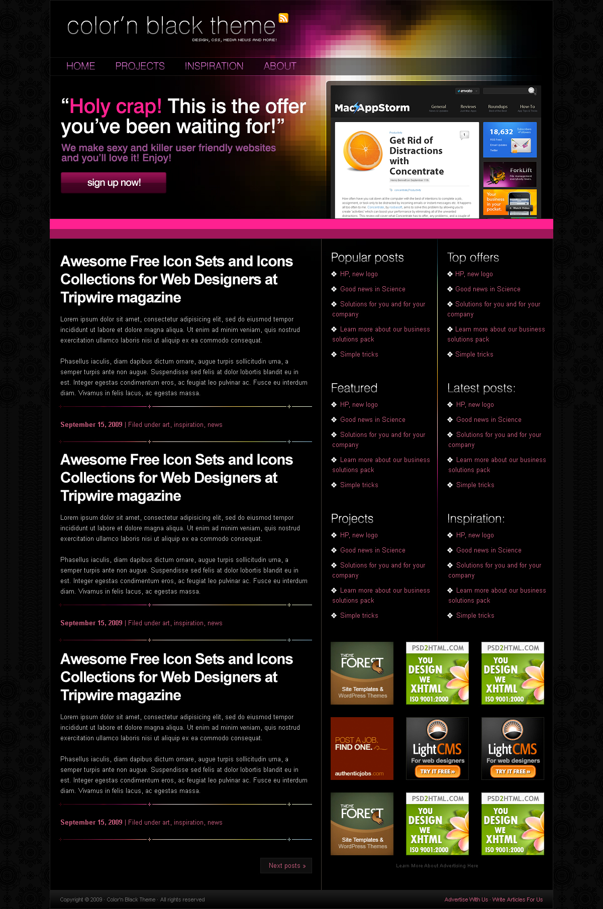 Color'n Black theme - Homepage : Big promo area to impact your user and posts for more info