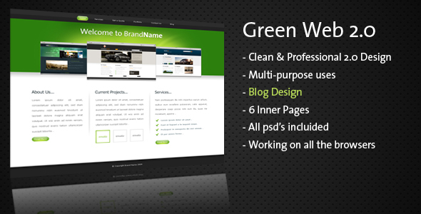 ThemeForest Clean & Professional Green Web 2.0 59510